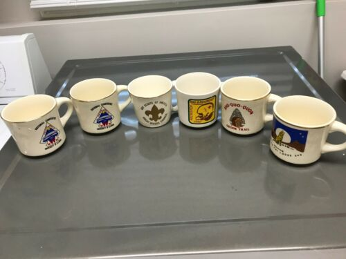 6 total Vintage Boy Scout America MUGS / CUPS sho quo quon + conference + MORE