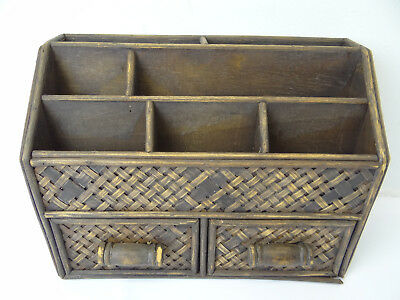 Vintage Rattan Small Wood Desk Organizer Two Sliding Drawer Office Used Old