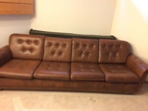 Mid century full leather sofa and chairs