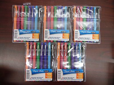 Paper Mate Medium Point Flair Felt Tip Pens - 5 Packs Of 8 - Vivid Colors 1e