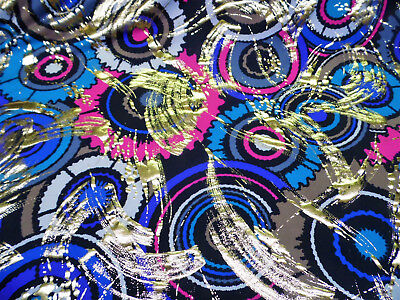 Discount Fabric Printed Spandex Stretch Circles Blue Pink Metallic Gold - Costumes Discount