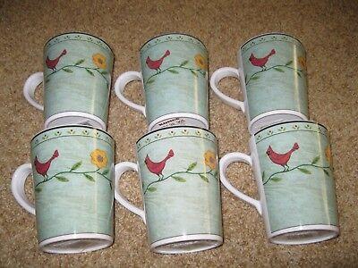 Sakura Warren Kimble Evolution Birds And Flowers Mugs / Cups 6 - New with Tags