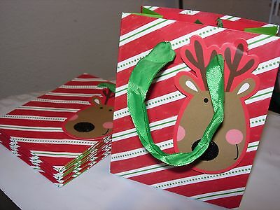 NEW lot 9 Christmas HOLIDAY PAPER GLITTER PARTY GIFT BAGS & TAGS REINDEER - Paper Bag Reindeer