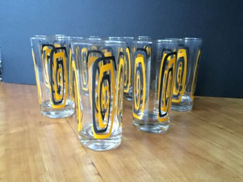 Vintage Mid Century Atomic Highball Barware Glasses- Set of 8 NOS