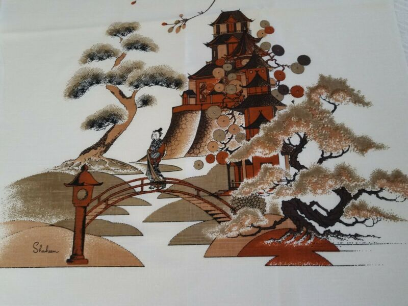 Vintage Alfred Shaheen Hand Printed In Hawaii Fabric 44 x 52 Inches