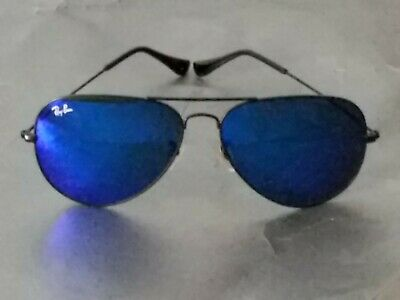 Ray Ban RB3026 Aviator Unisex Sunglasses 62MM Black Frame/ Blue Mirror Lens