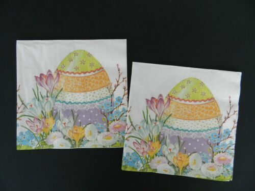 2 (Two) Single Lunch Size Paper Napkins for Decoupage Craft Flowers Easter Egg