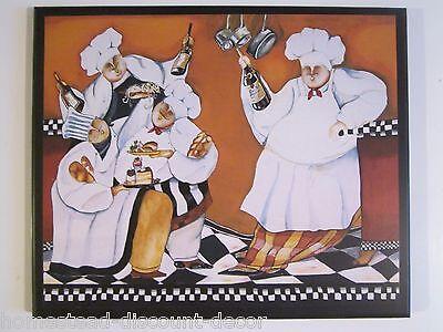 Restaurant Decor - Chefs French Kitchen wall decor sign, orange fat chef plaque, restaurant bistro