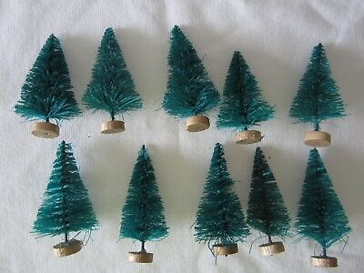 Used, 10 Vintage Miniature Green Bottle Brush Christmas Trees Village Scenes Decor for sale  Saint Charles