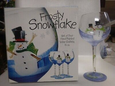 Home Essentials Frosty Snowflake Hand Painted Wine Goblets Set Of 4 New In Box