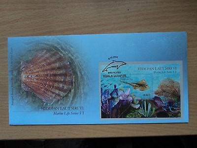Malaysia 2004 9 Oct FDC Marine Life Series 6 Miniature Sheet