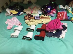 Baby and doll clothes and boots skates