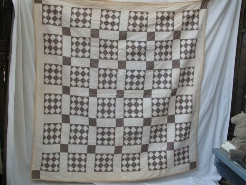 Antique Diamond Gingham Patchwork Quilt Early Fabrics