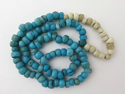 Necklace of Venetian glass turquoise blue 'padre'  African trade beads