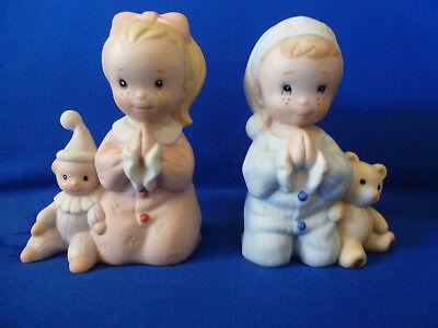 Homco 1980s Bisque Praying Boy & Girl In Pajamas With Toys 3 3/4