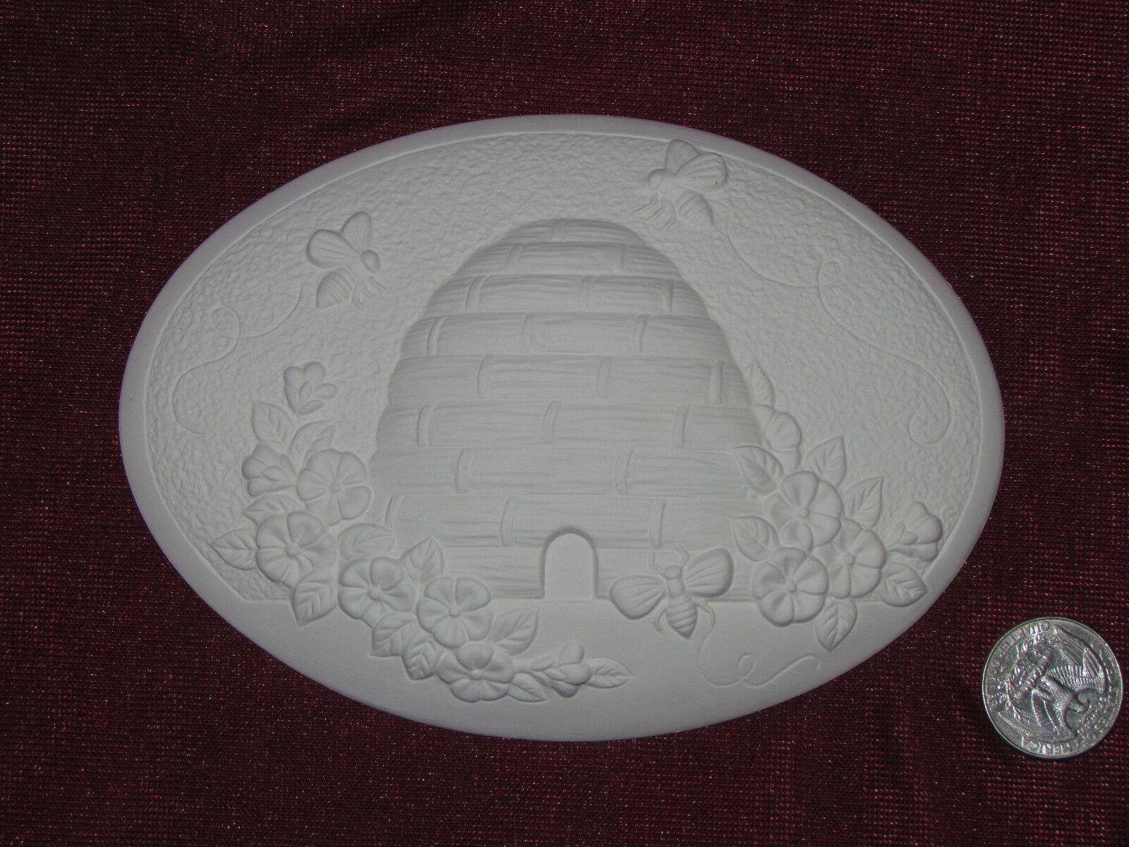 Ceramic Bisque 2 Dona's Beehive Seasons Insert Ready to Paint U-Paint Bee Flower