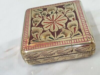 vinate small indian brass and enamel box