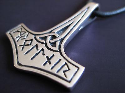 Thors Hammer Anhänger 925'er Silber + Echtlederband Wikinger  / KA 058