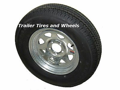 "ST185/80R13 LRD 8 PR KK Radial Trailer Tire on 13"" 5 Lug Galvanized Spoke Wheel"