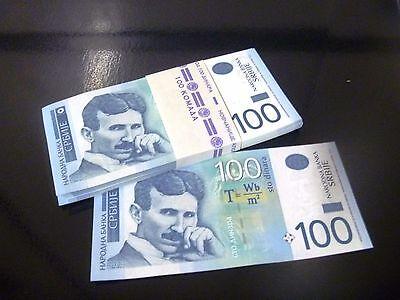 Serbian famous banknote 100 dinars Nikola Tesla year of issuing 2013