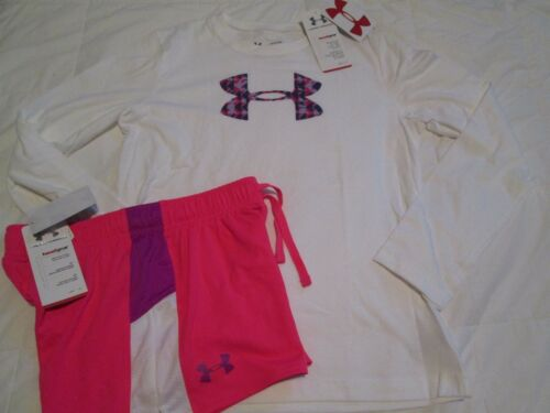 NEW Girls UNDER ARMOUR 2pc OUTFIT Pink Shorts+White L/s w/ Big UA logo FREE SHIP