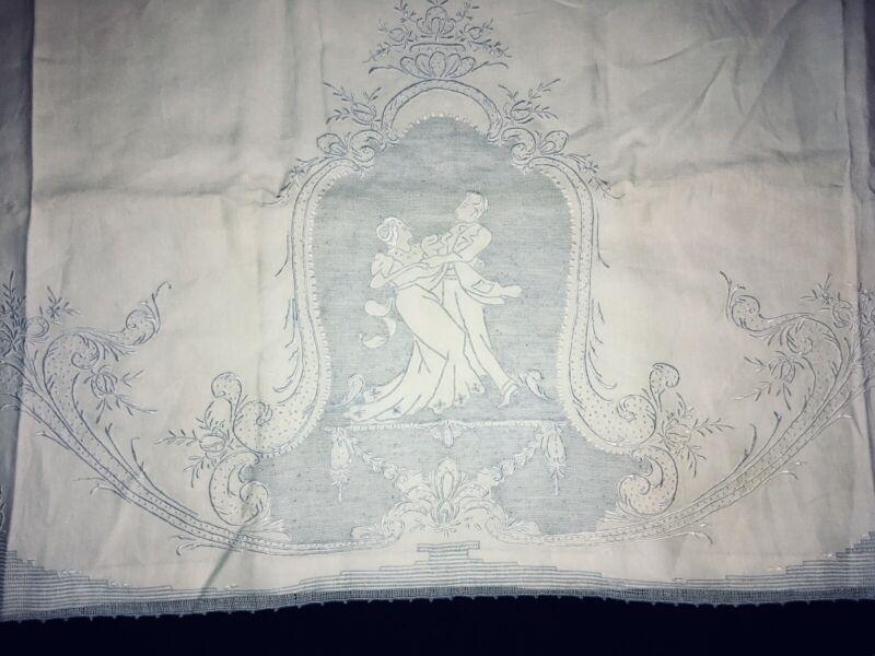 Antique Linen Bed Cover Wedding Bride Groom 72x96 Cutwork Sheet