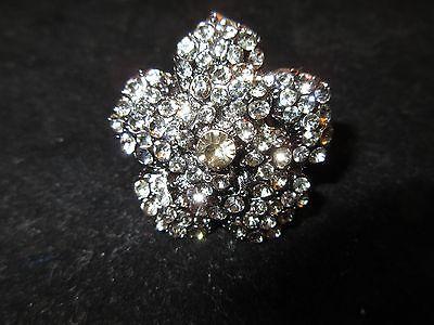 (Stretch Ring Rhinestone Crystal Flower Black Onyx Tone Fashion Statement Shiny)