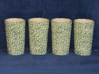Set of (4) Green Spongeware 16 Oz Tumblers Workshop of Gerald Henn Roseville OH