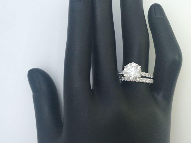 6 Prongs 5 Carats Diamond Matching Band Set Ring 14k White Gold Size 4.5 - 9