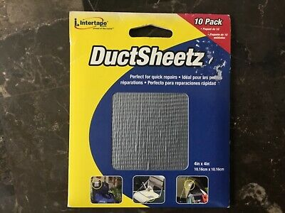 Ductsheetz Duct Tape Sheets 10 Per Pack Gray 4x4 Repair Tears Rips