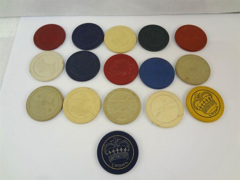 16x Assorted Vintage Crown Golf Club Jockey Airplane Multi Color Poker Chips