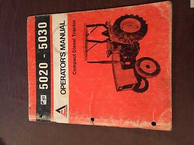 Allis Chalmers Allis-chalmers 5020 5030 Operator Operators Tractor Manual