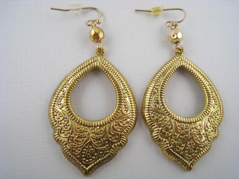 Vintage Style Dangling Goldtone Victorian Earrings