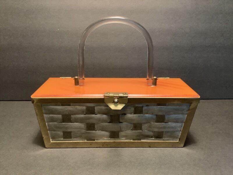 VIntage Woven Metal Basket Weave Butterscotch Lucite Top Box Purse