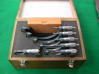 """Mitutoyo #103-907 0""""-6"""" Micrometer Set In Original Wood Box"""