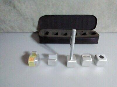 Levenger 7 Piece Pen Set Aluminum Leather Case Tape Card Holder Sharpener Megnet