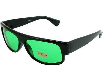 Mens Womens Color Sunglasses Retro Flat Top Black Square Frame Green Tint covid 19 (Frame Womens Sunglasses coronavirus)