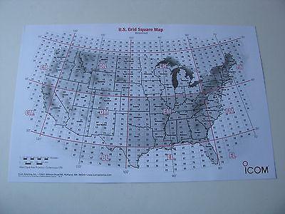 "2010 ICOM Ham Amateur Radio United States Grid Square Map Poster VHF/UHF 11""x17"""