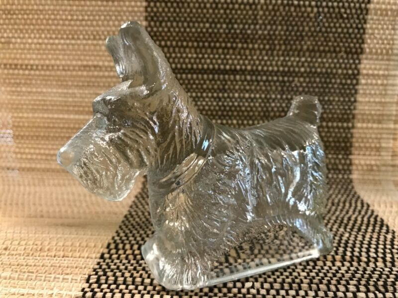 Vtg Scottie Dog Glass Candy Container