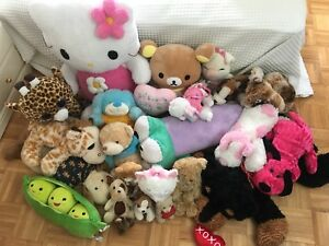 23 stuffed animals/plushes