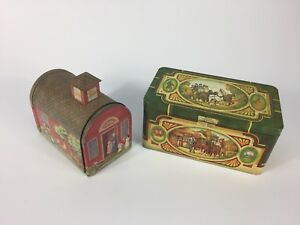 Two Vintage collector tins schoolhouse Pickwick Thee dogs horses