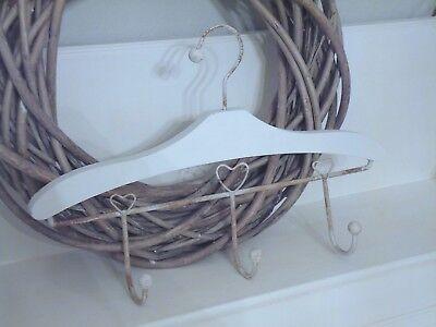 Kleiderbügel, Hakenleiste mit  3 Haken, Holz, Metall, weiß, Shabby, Landhaus ()