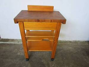 C38042 Solid Pine Kitchen Chopping Block Trolley Island Bench Unley Unley Area Preview
