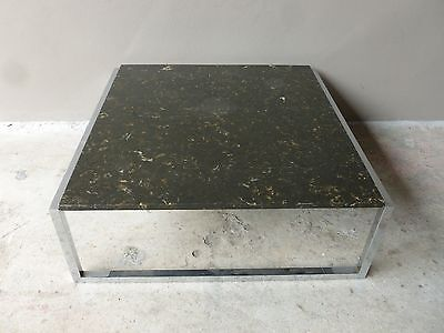 LARGE SLEEK 70'S ITALIAN STYLE ARCHITECTURAL CHROME AND MARBLE COFFEE TABLE
