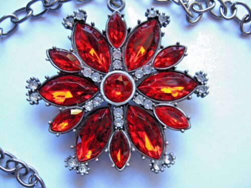vintage RUBY RED pendant clip SILVER NECKLACE