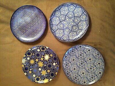 set 4 Williams sonoma  blue mosaic salad plates Hanukkah dessert -