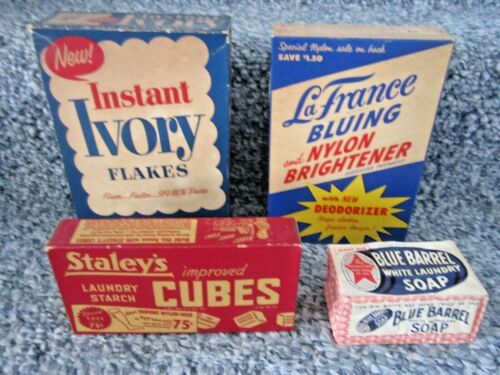 antique laundry soap, bluing, and starch boxes with contents & laundry bar soap