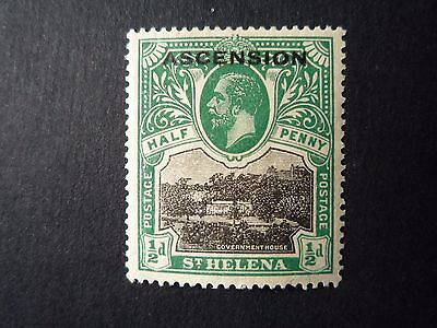 Ascension SG1  1922 1/2d Overprint Very Fine Mounted Mint