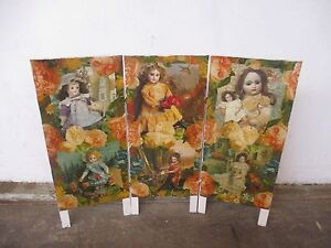 C31060 Small Vintage 3 Fold Doll Decoupaged Screen Divider Prop Mount Barker Mount Barker Area Preview