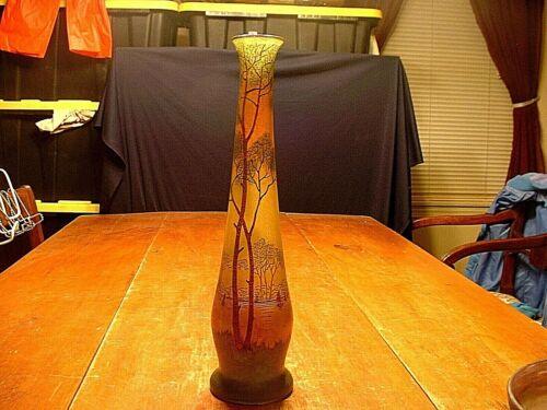 """Antique 16 1/4"""" French Enamel & Handpainted Art Glass Scenic Vase"""